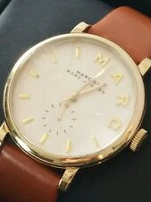 Marc Jacobs Womens Watch Brown Leather Band White Face Gold Accents MBB1316
