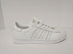 Adidas Superstar Sneaker, White/White/Grey, Womens 10 M