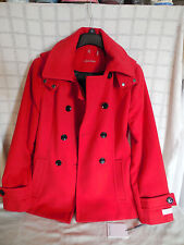 Clavin Klein red, fire double breasted pea coat size 10 NWT w/removable hood