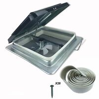 """Heng's 14"""" RV Roof Vent Kit w/ Butyl Tape and w/12 Volt Fan 