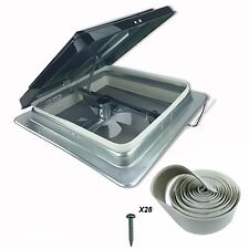 "Heng's 14"" RV Roof Vent Kit w/ Butyl Tape and w/12 Volt Fan 