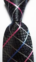 New Classic Checks Black Gray Pink Blue JACQUARD WOVEN Silk Men's Tie Necktie