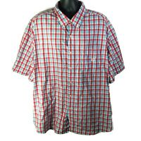 CHAPS Easy Care Mens Casual S/S Button Down Shirt Red Blue White Plaid - 4XB Big