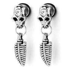MENDINO Men's Stainless Steel Skull Leaf CZ Back Screw Stud Drop Dangle Earrings
