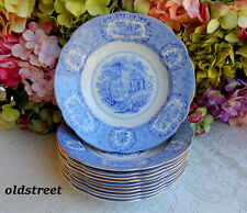 11 Antique Ridgway Ironstone Rimmed Soup Bowls ~ Blue White ~ Oriental ~ Gold