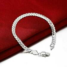 925 Solid Silver Bracelet Fashion Jewelry Women 5mm Snake Chain Bangle Gift