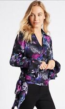 MARKS & SPENCER COLLECTION FLORAL PRINT SATIN WRAP TIE SIDE TOP/BLOUSE 12 to 24