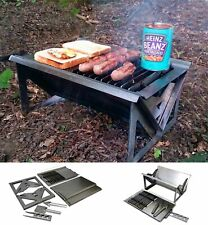 Portable Flat Pack Fire Pit Charcoal BBQ & Cooktop Fishing Hiking Camping Smoker