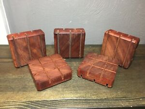 NEW Lot Bulk 5 Exotic Bloodwood Wooden Wood Soap Dish Handmade Clearance