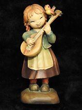 Anri Italian wood carving Figurine statue Melody for Two Girl & Bird Ferrandiz