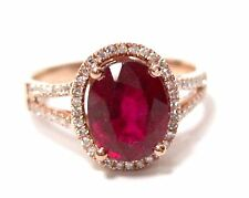 2.81 TCW Oval Red Ruby & White Diamonds Cocktail Ring Size 7 14k Rose Gold