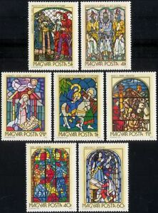 Hungary 1972 Stained Glass/Religious Art/Windows/Religion/Craft 7v set (n45612)