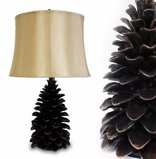 "24"" Rustic Bronze Pine Cone Table Lamp Desk Lamps Home Natural Art Decor Light"