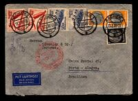 Germany Airmail Feb 1936 to Brazil / Light Fold - L17384