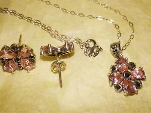 3 PC NEW 925 Sterling Silver Marcasite Pink Tourmaline Earrings & Necklace set