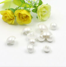 25PCS White Resin Pearl Shaped Shank Buttons Shirt Suit Sewing Craft DIY 11MM