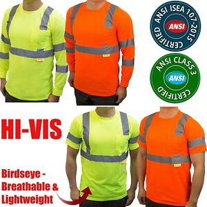 Hi Vis Safety Work T Shirt ANSI Class 3 Long Sleeve High Visibility Reflective