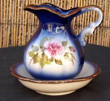 Ornamental Vintage Washstand Set/Dressing Table Cobalt Blue Pitcher Jug & Bowl,