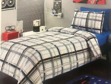 Check DOUBLE Bed Quilt / Doona Cover Set - White, Grey, Blue, Black - Travis