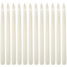 Realistic Looking Faux Wax Flameless Taper LED Candle 12 Pack 11 inch White Tall