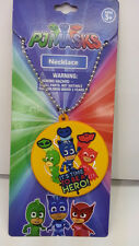 """ENTERTAINMENT ONE PJ MASKS 16"""" SILVER CHAIN NECKLACE WITH LASER CUT RUBBER CHARM"""