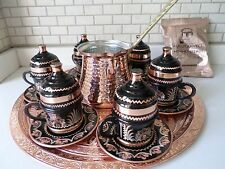 Totally Handmade Copper Turkish Coffee&Espresso Serving Set:OTTOMAN STYLE-6CUPS
