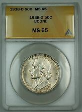1938-D Daniel Boone Commem. Silver Half Dollar Coin ANACS MS-65 Gem Coin DGH