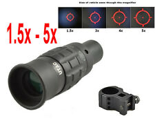 UTAC 1.5x - 5x Red Dot Magnifier Sight Monocular 30mm Mount Ring Included