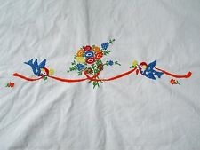 Vintage hand embroidered floral tablecloth / Needs to be finished / (309)