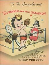 VINTAGE BOXING MATCH GLOVES MEDICINE SPOON BOTTLE OF ASPIRIN GET WELL CARD PRINT
