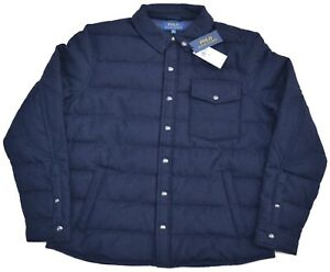 New XL POLO RALPH LAUREN Men Wool Down quilted jacket coat Navy blue Extra Large