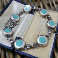 STERLING SILVER TENNIS BRACELET, MEXICO, TURQUOISE HOWLITE, 8 INCH LONG, T BAR