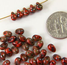 Tear Drop Beads, 4x6mm, Opaque Orange Coral w/Picasso Finish, Czech, 50 Beads