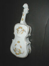 Japanese Porcelain Hand Painted Yellow Floral Bass Fiddle CELLO Trinket Box