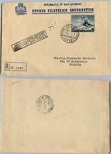 SAN MARINO-FDC-200L Sciatrice-Raccomandata x Pistoia 20.4.1953
