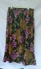 Laura Scott Purple Brown Green Floral Career Skirt, Modest Length Woman's sz 18