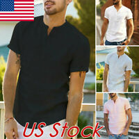 Men's Slim Fit V Neck Short Sleeve Muscle Tee T-shirt Casual Tops Linen Shirts
