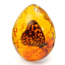 Beautiful Amber Butterfly Insects Stone Pendant Necklace Manual Polishing Gift