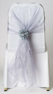100 Lavender Grey Mink Organza Chair Cover Hood Wrap Sash Bow Tie