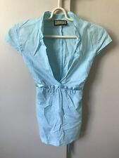 Review Vneck Blouse Top SiZe 10 Blue Belted