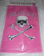 "12 x 18"" Pink Garden Banner Flag Pirate Girl"