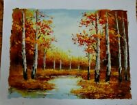 "Trees by River  Hand Painted High Quality Oil Painting on Canvas 12""x 16"""