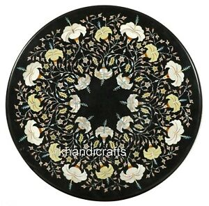 30 Inches Hand Made Center Table Top Floral Work Round Shape Coffee Table Top