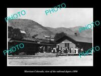 OLD LARGE HISTORIC PHOTO OF MORRISON COLORADO, THE RAILROAD DEPOT STATION c1890