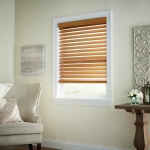 CUSTOM CUT Home Decorators Chestnut 2-1/2 in. Cordless Premium Faux Wood Blind
