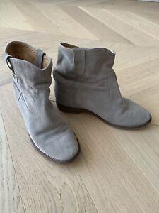 Isabel Marant Suede Hidden Wedge Boots Booties 39