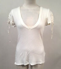 Project Social T Women's Shirt Lace Up Sleeve Stella White Size L NWT Urban