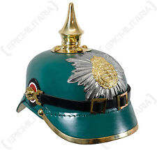 WW1 Saxony Green Leather Pickelhaube - Repro Soldier Helmet Hat Uniform Army New
