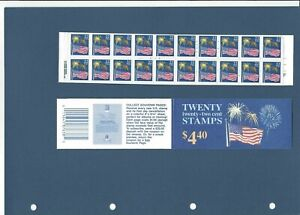 US 1987 2276a  $4.40 BOOKLET BK156 - BC39 22c ONE PANES 0f  20 FLAG STAMPS MNH