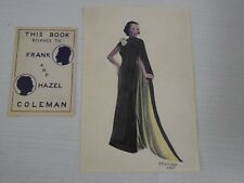 Pencil Drawing Art Deco Woman Flowing Black Dress Colored Signed F Coleman 1937